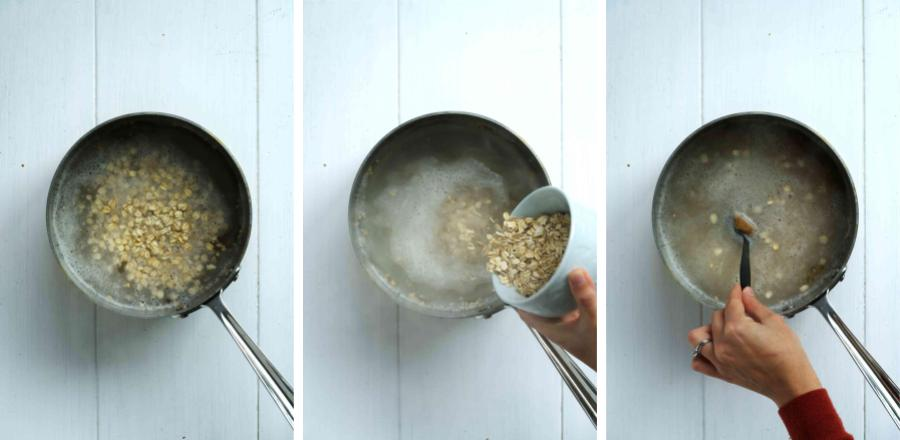 Pouring oatmeal into boiling water.