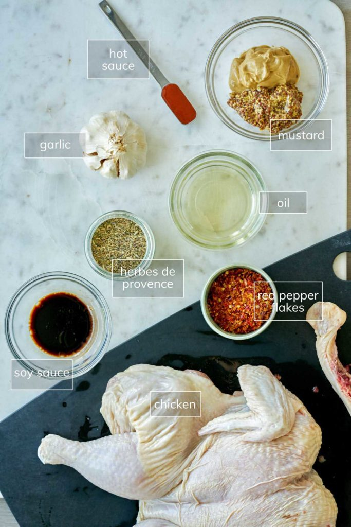Ingredients on a white countertop for mustard chicken.