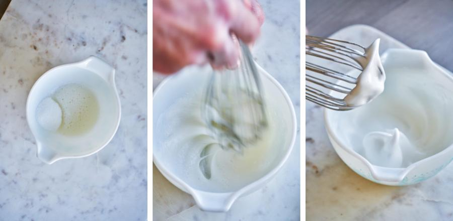 Whisking egg whites and sugar in a bowl.