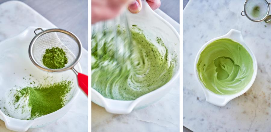 Whipping matcha and egg whites in a bowl.