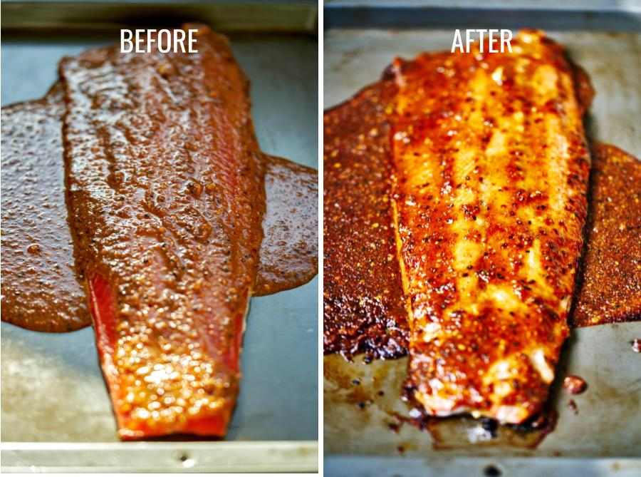 Before cooked and after cooked salmon covered in red marinade.