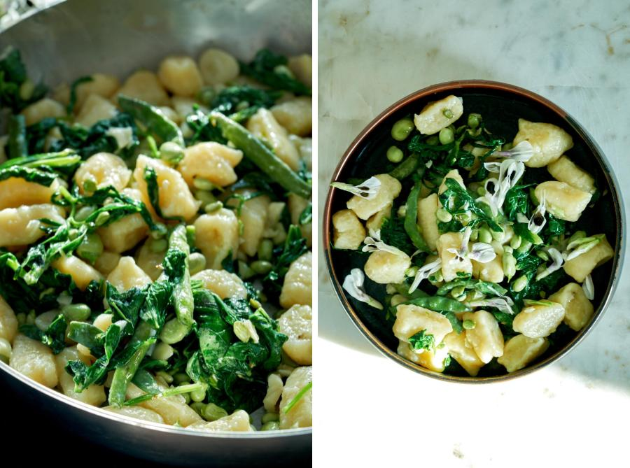 Gnocchi with fava bean greens, fava beans, and fava bean flowers in a pan and in a bowl.