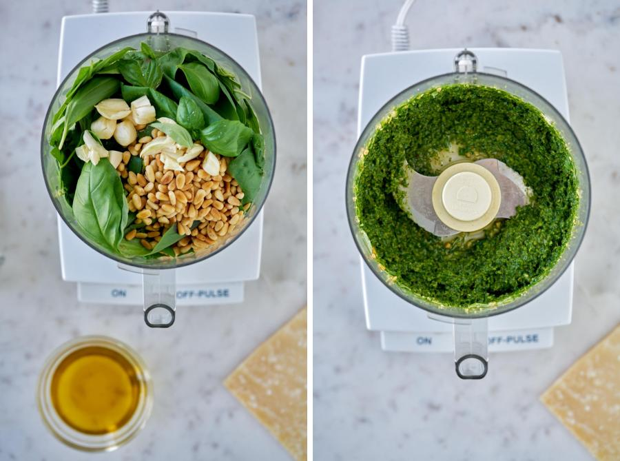 Before and after processed basil pesto in a food processor.
