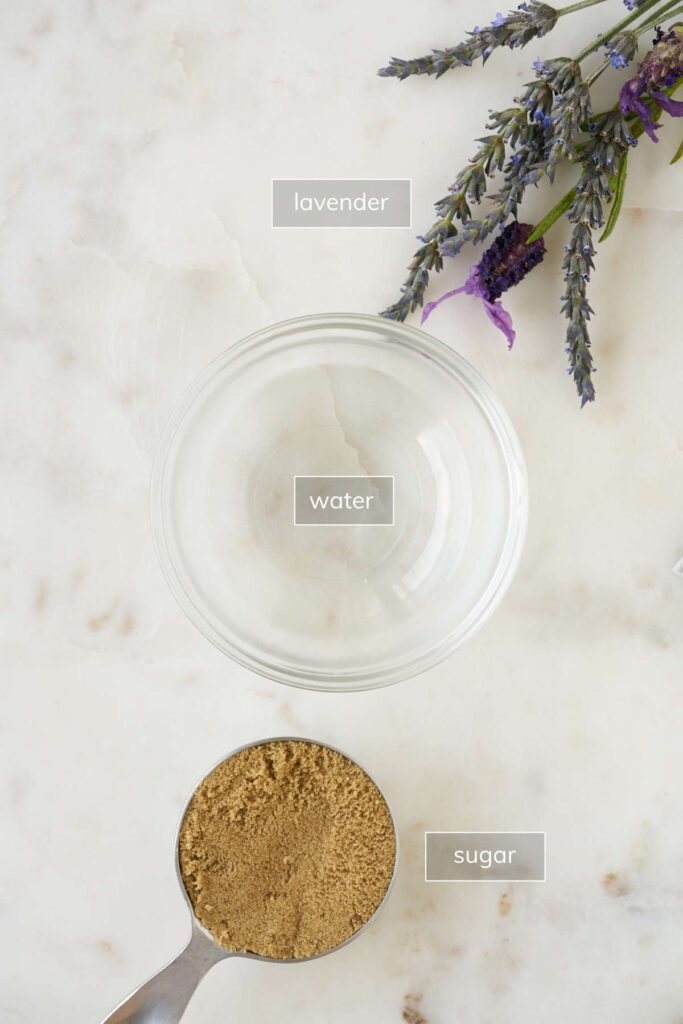 Ingredients for lavender syrup including lavender, water and sugar.