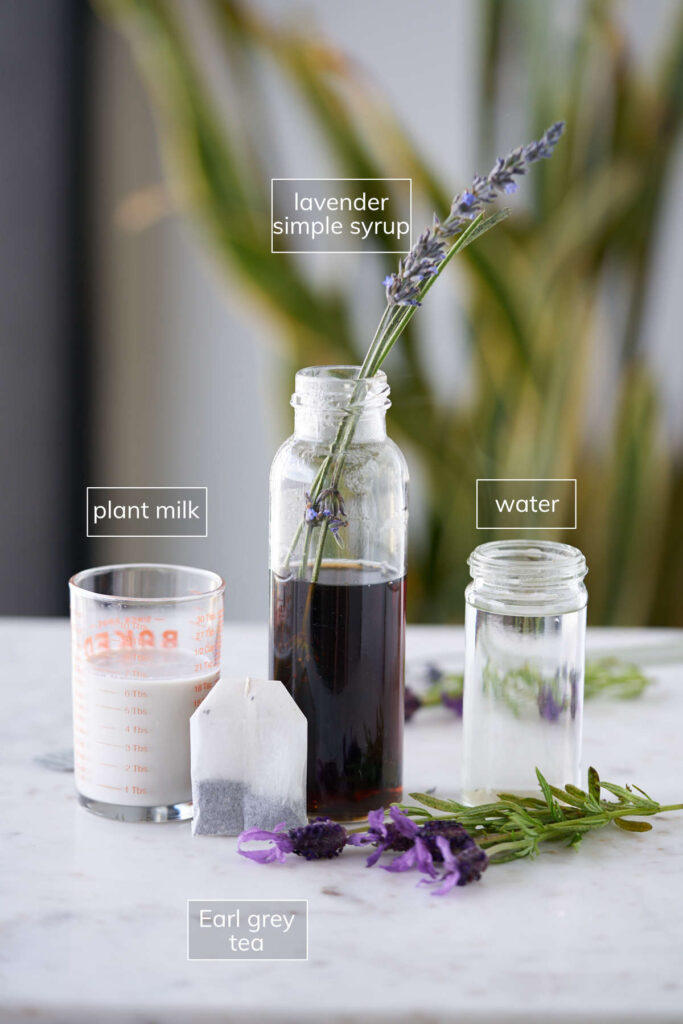 Ingredients for earl grey tea latte including lavender simple syrup.