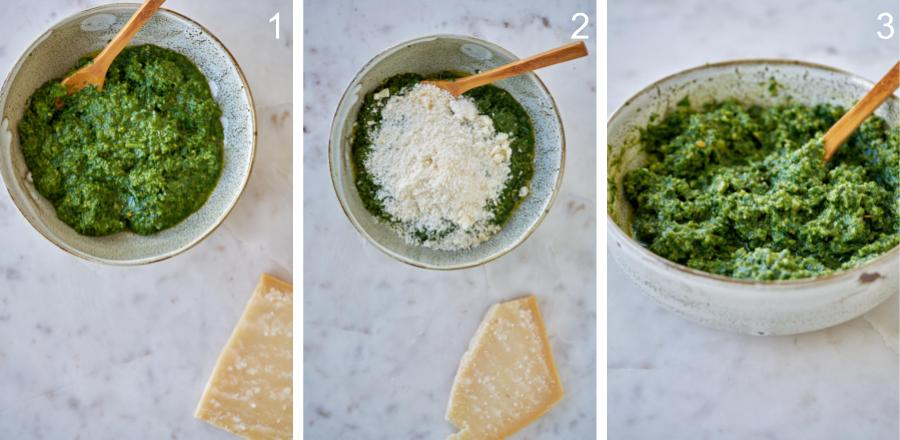 Mixing parmesan cheese into a bowl of green pesto.