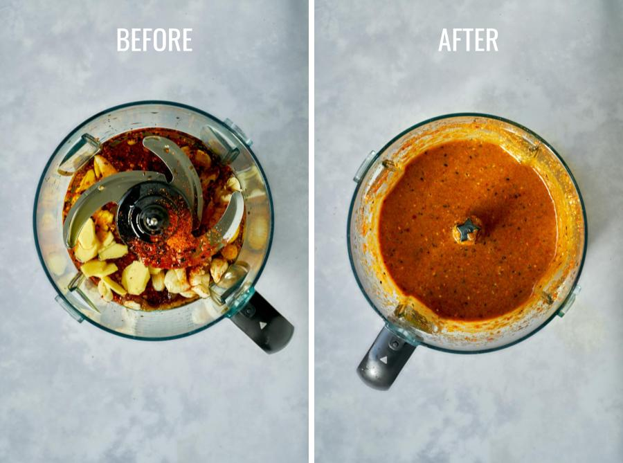 Before and after salmon marinade ingredients are processed in a food processor.