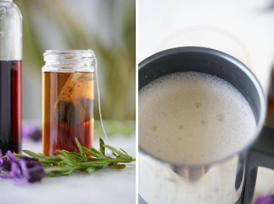 Tea steeping in small jar next to frothed milk.