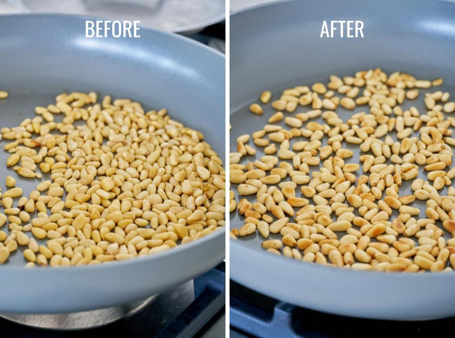 Before and after toasted pine nuts in a pan on the stove.