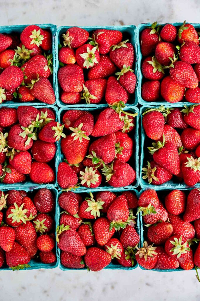 Flat of strawberries.