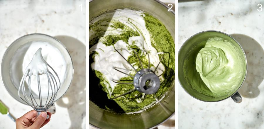 Side by side photos of adding matcha powder to meringue.