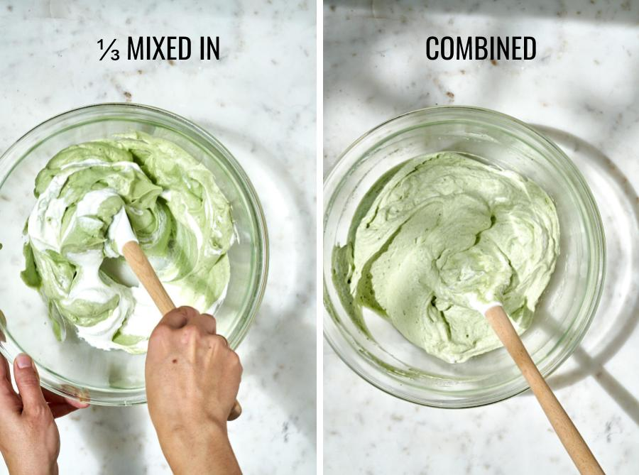 The difference between mixing in matcha into whipped cream and it being fully combined.
