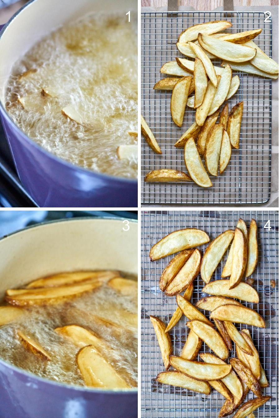 Twice frying fries for an extra golden brown crisp and soft center.