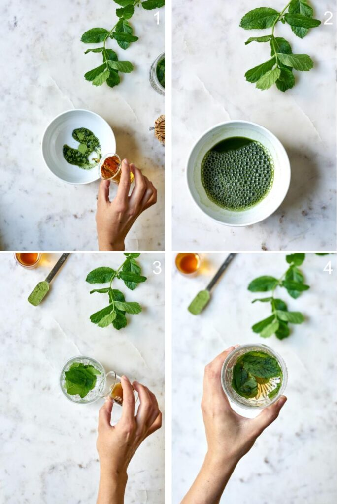 Mixing matcha and bourbon in a bowl, then mixing simple syrup and mint in a glass.