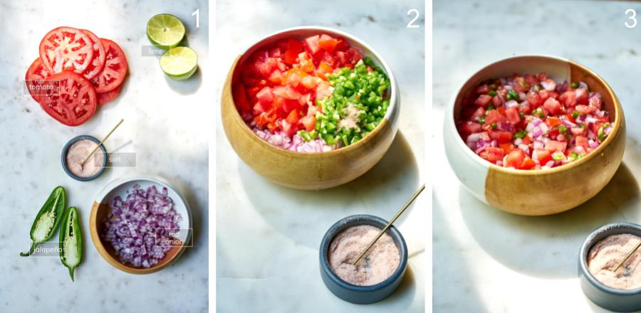 Step by step simple salsa with ingredients being mixed in a bowl.
