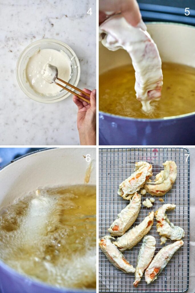 Steps to fry fish tempura from dipping into the batter to removing excess oil on a wire rack.