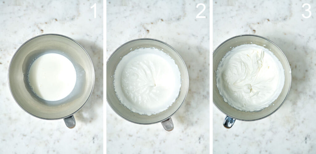 Whipped cream at different stages of whipped stiffness.