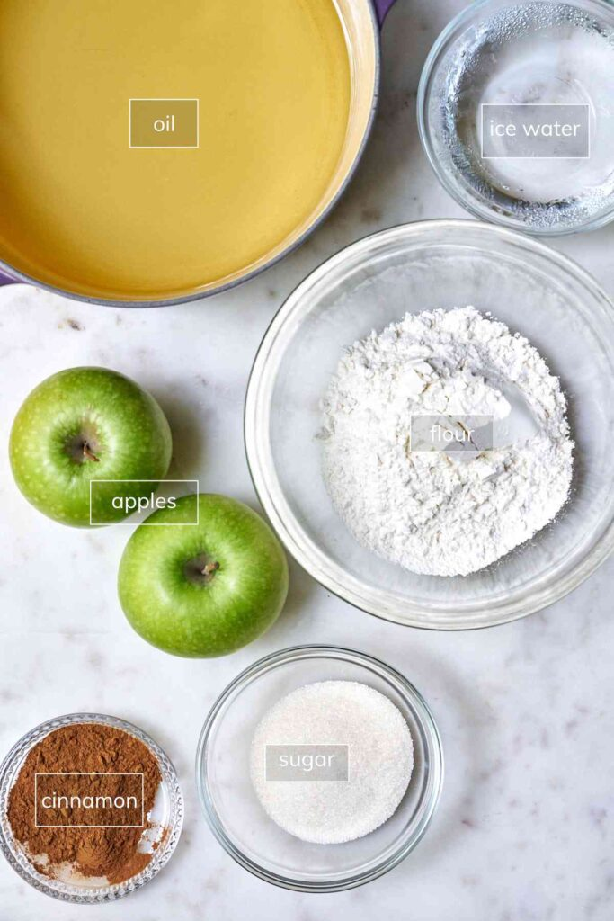Ingredients for fried apples with cinnamon sugar.