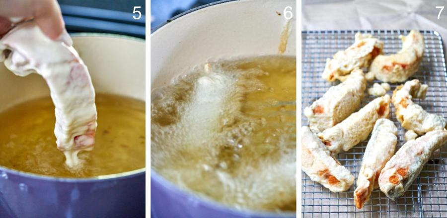 Step by step frying salmon tempura and placing it on a wire rack.