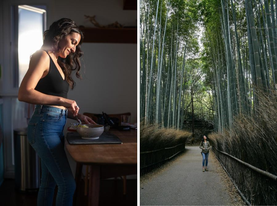 Woman in a bamboo forest next to woman cooking in kitchen.