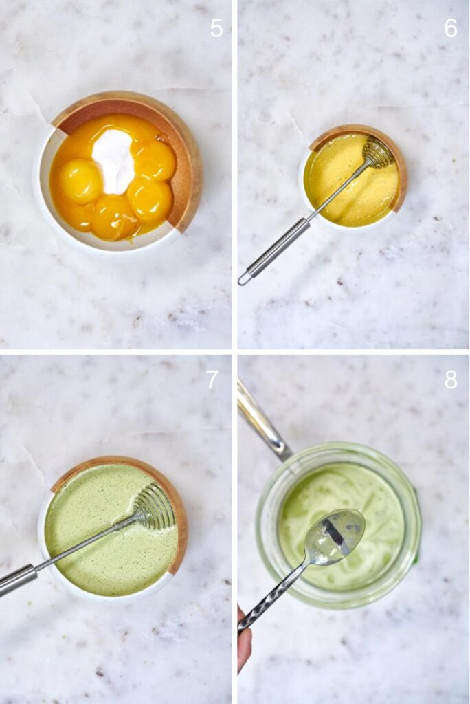 Mixing together the custard for matcha creme brulee.