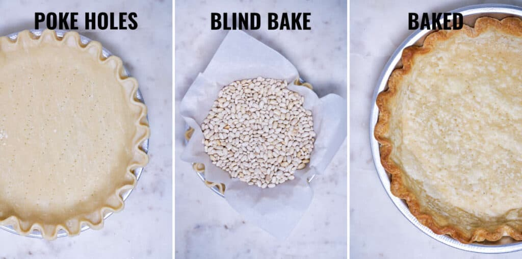 Pie crust before and after it is blind baked.