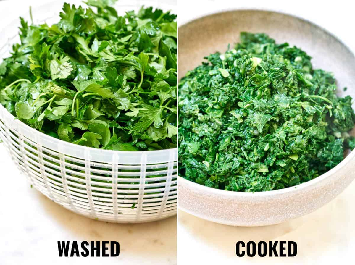 Before and after of the fresh and cooked herbs.
