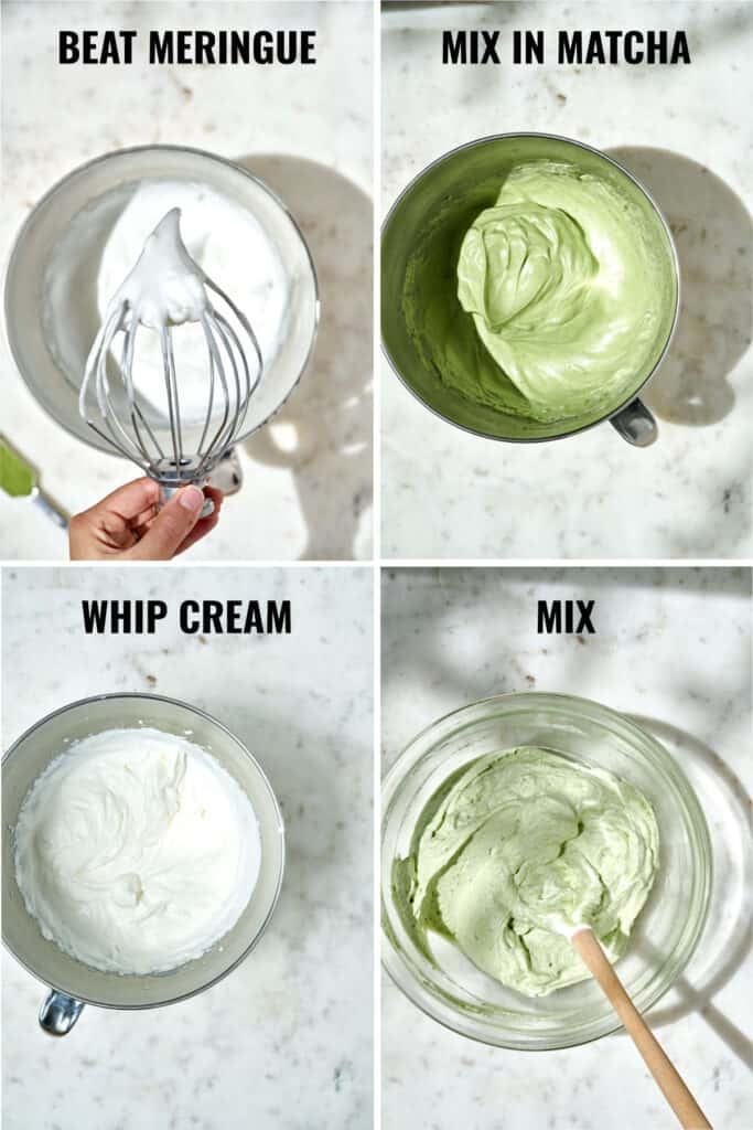 Consistencies of different components of matcha mousse.