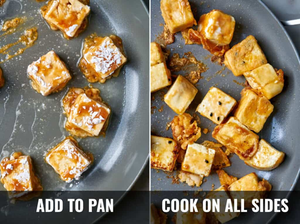Tofu when added to the pan, and then what it looks like after it is cooked.