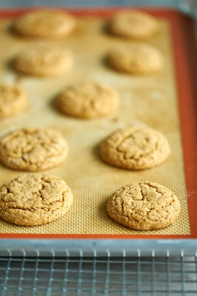Baking sheet with molasses cookies on it.