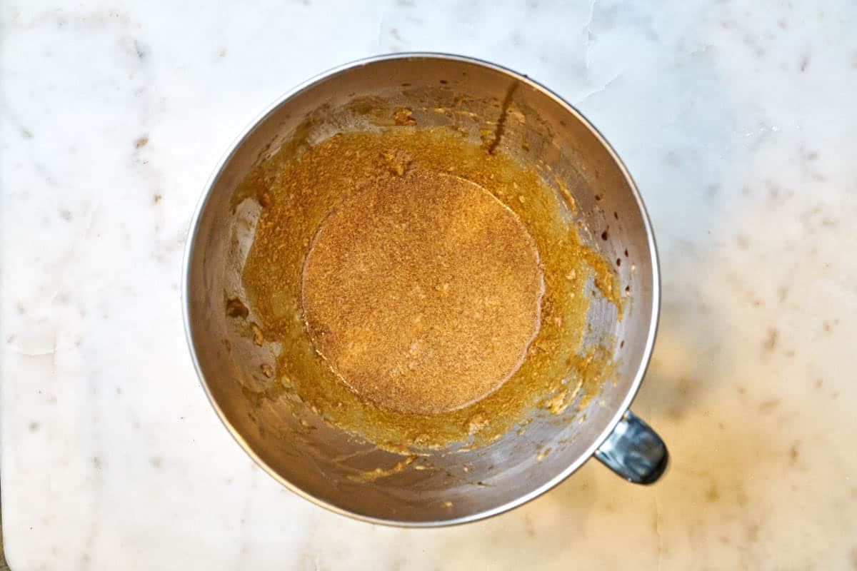 Batter in a stand mixer bowl.