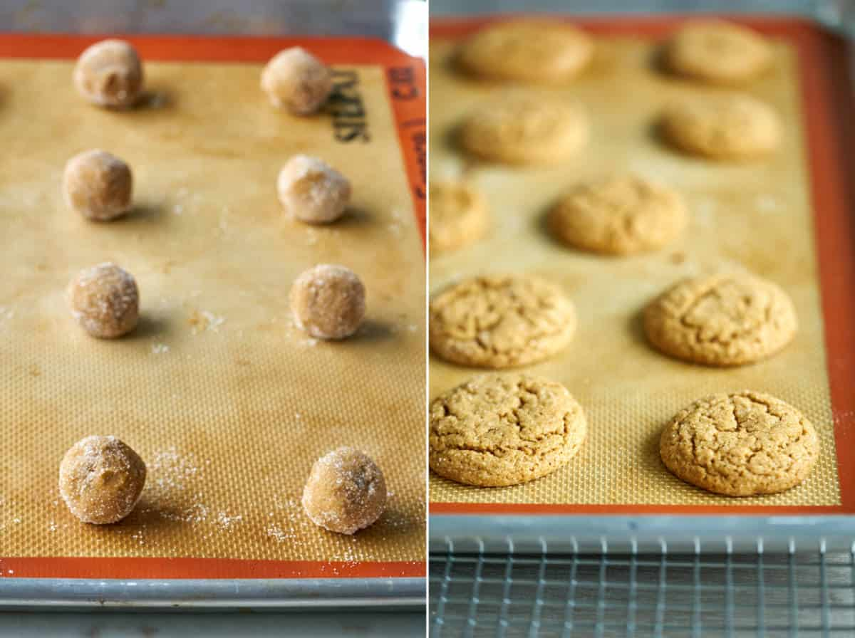Cookies on a baking sheet before and after baking.