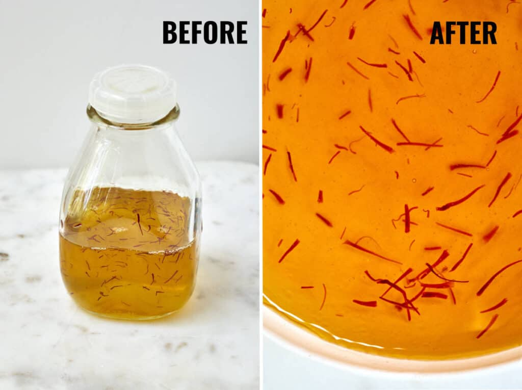 The difference in color of steeping the saffron before and after overnight.