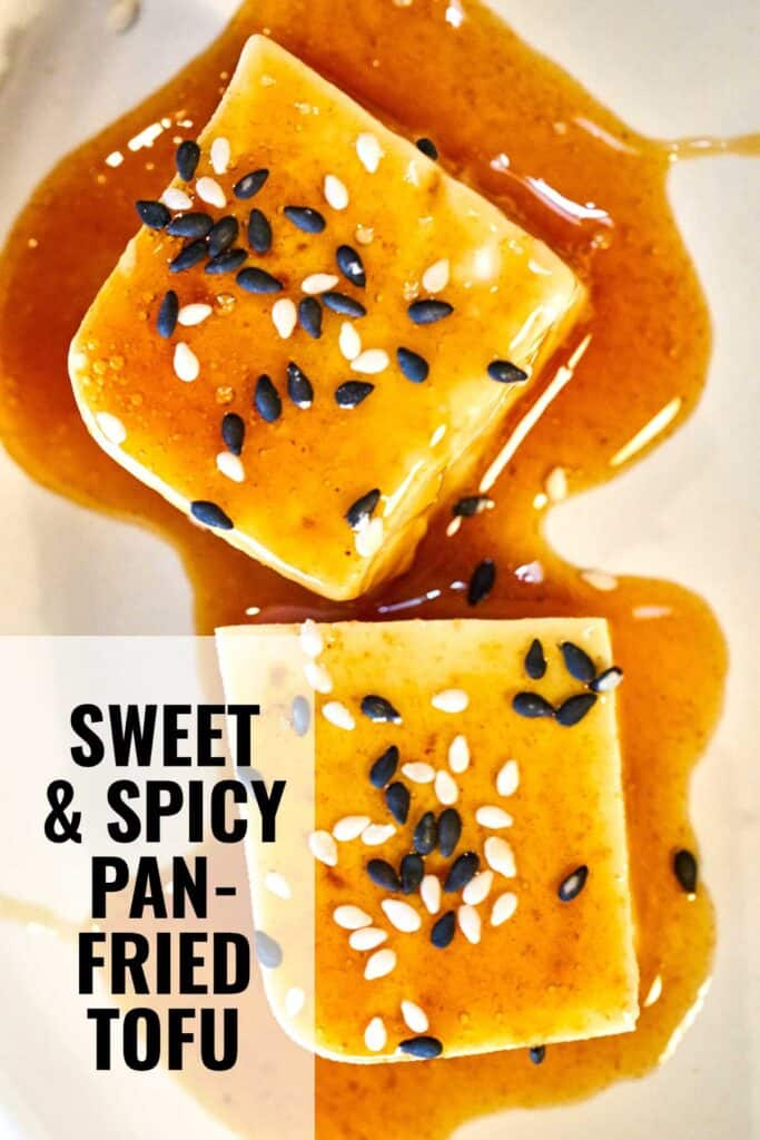 Two cubes of tofu covered in sauce and sesame seeds with title text.