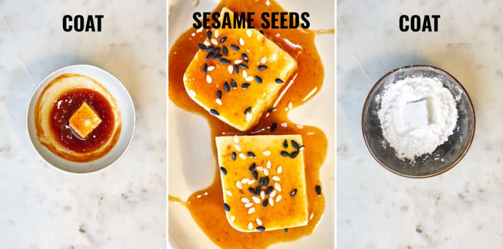 Steps for dredging the tofu in sweet & spicy sauce then arrowroot.