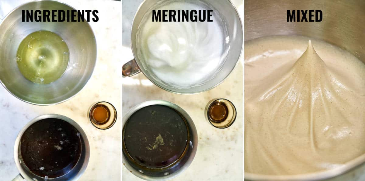 Consistency of the different stages of meringue being whipped with brown sugar and bourbon.