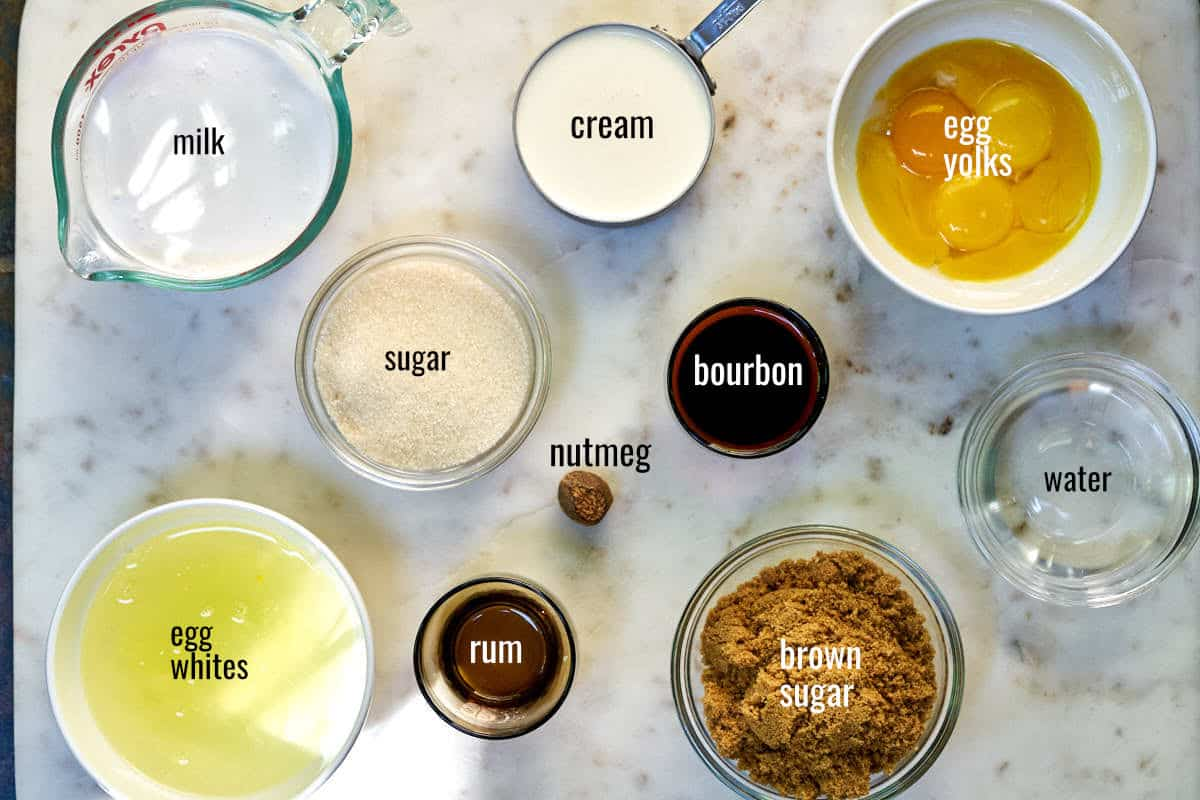 Ingredients for eggnog with brown sugar bourbon meringue.