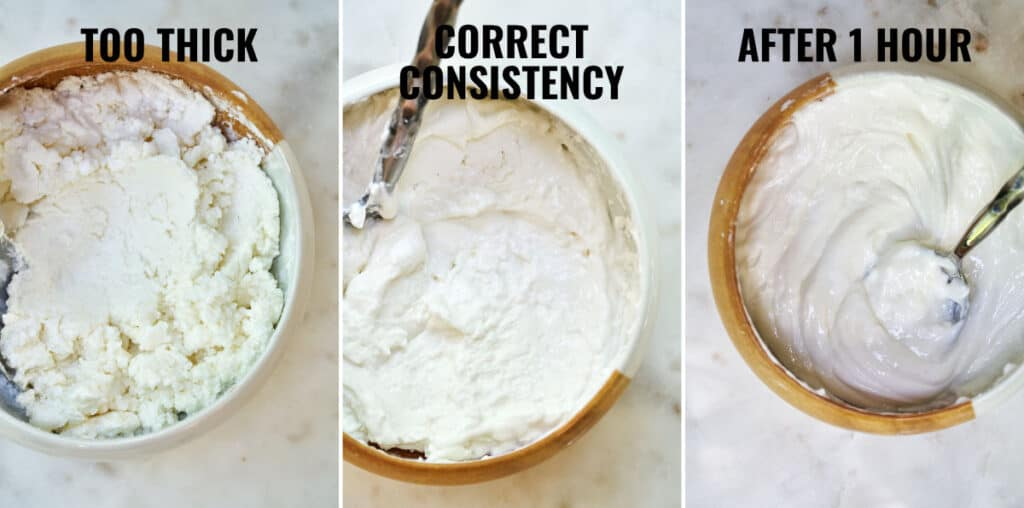 Side by side images showing the proper batter consistency before and after the fermentation.