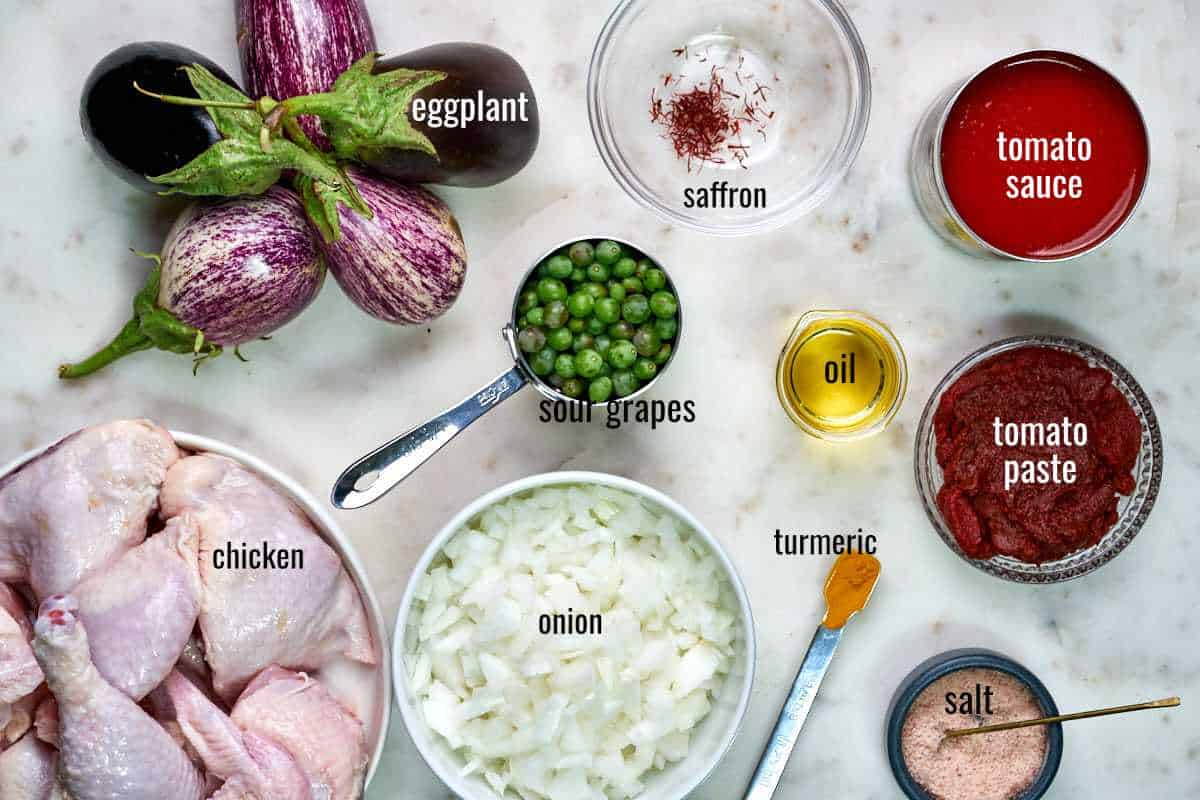 Top view of labeled ingredients on a white countertop including eggplant, chicken, and sour grapes.