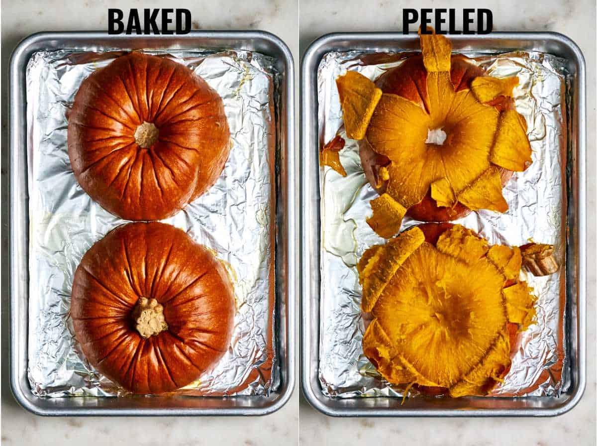 Baked pumpkin next to a peeled pumpkin.