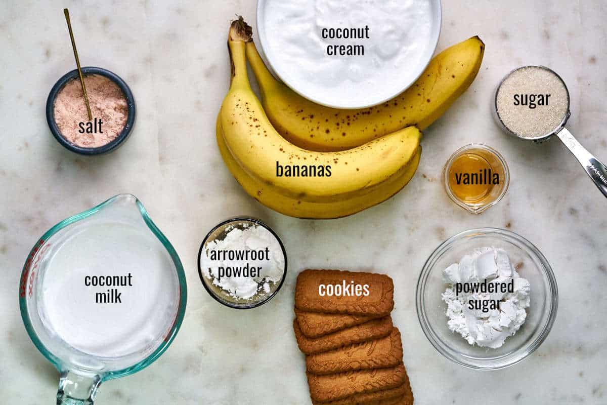 Ingredients for banana cream pie including bananas, coconut cream, cookies, thickener, sugar, and vanilla.