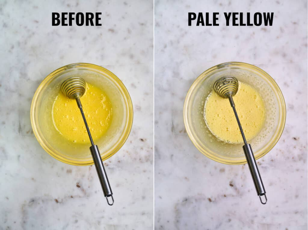 Egg yolks beaten to pale yellow in comparison to bright yellow.