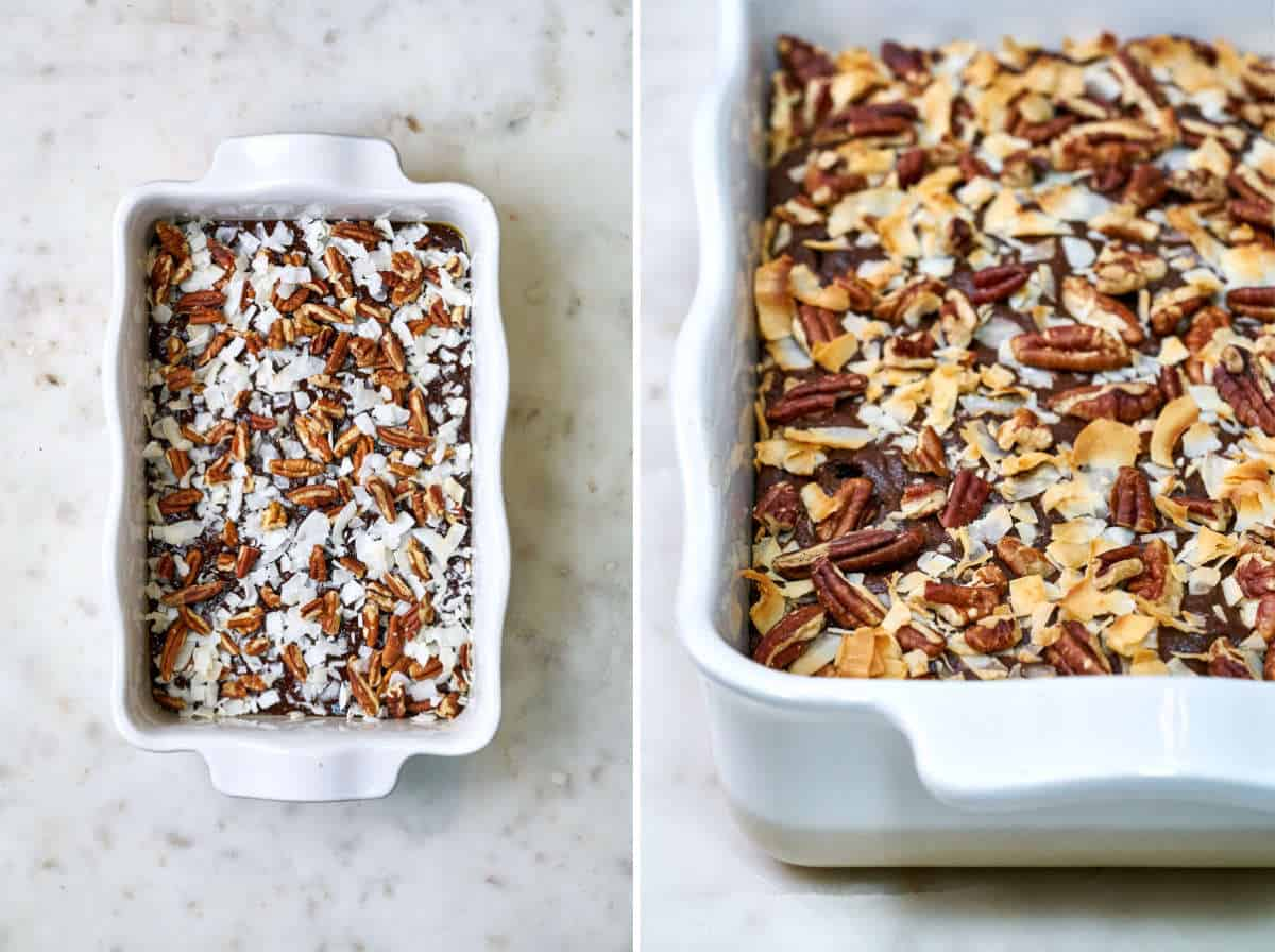 Cake in a white baking dish covered in pecans and coconut before and after baking.