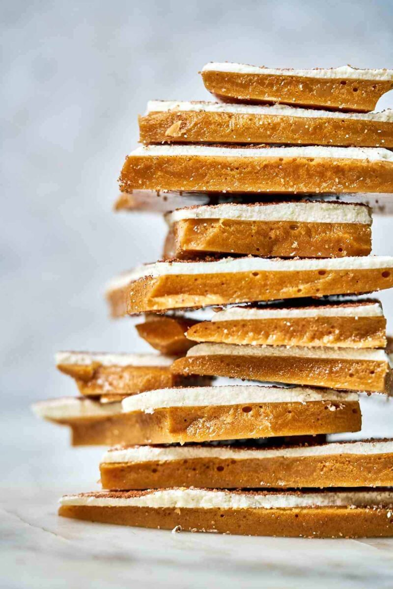 Front view of a stack of Toffee layered with white chocolate.