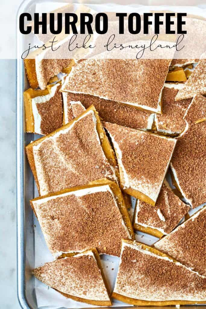 Top view of a sheet pan full of toffee with title text.