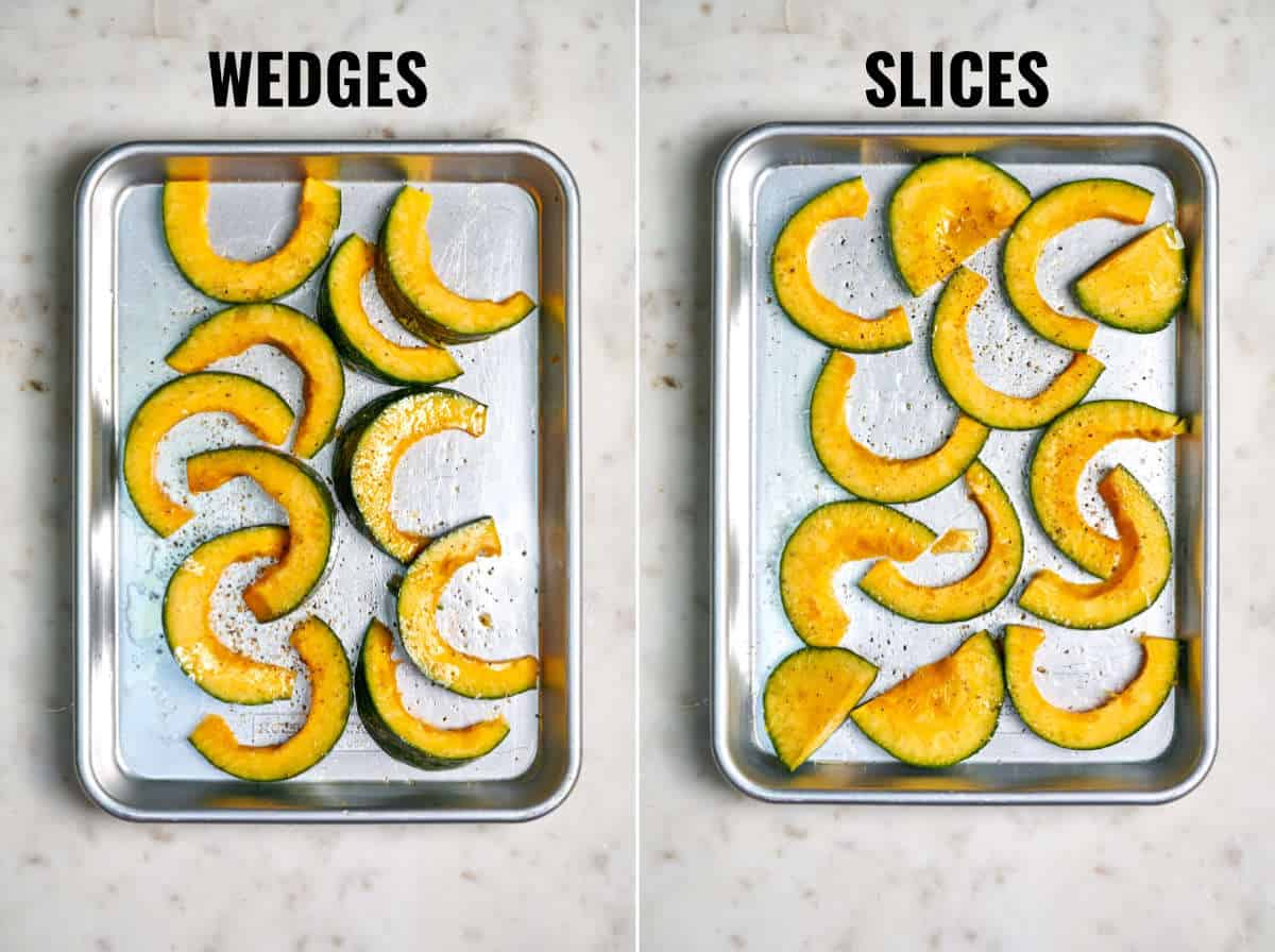 One pan with kabocha wedges next to a baking pan with kabocha slices.