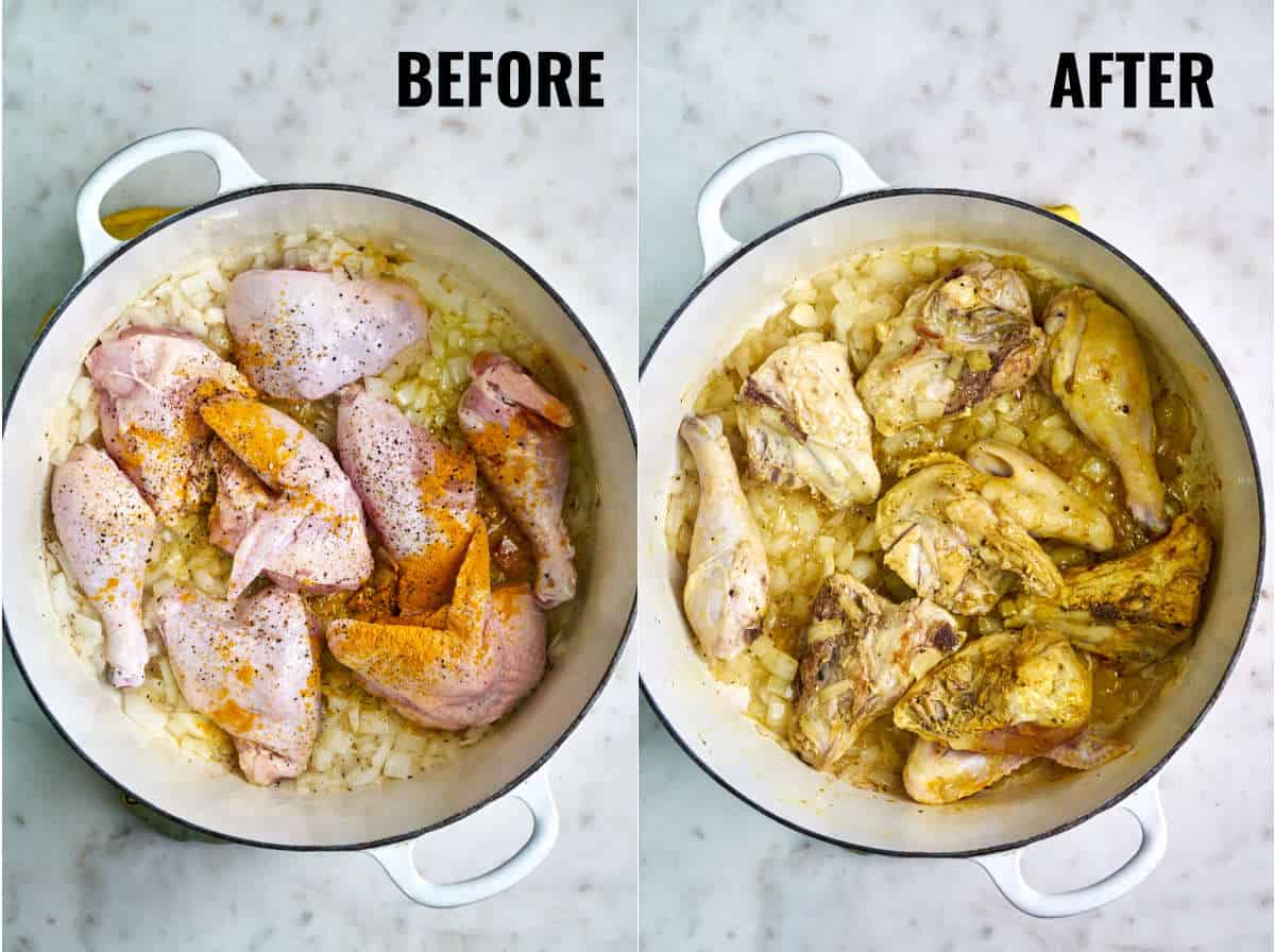 Before and after chicken is cooked with diced onion and spices.