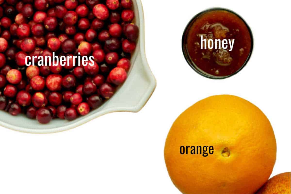 Cranberries in a bowl next to honey and an orange.