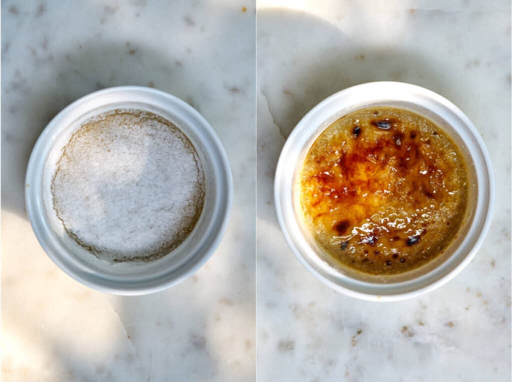Before and after creme brulee has been torched or bruleed.
