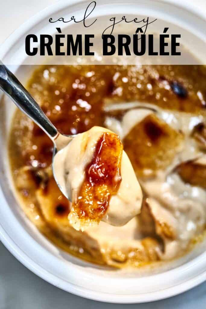 Top view of creme brulee on a spoon with title text.
